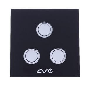 LVC8603B 钢化玻璃面板 智能双模照明开关3键(米黄)
