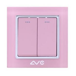 LVC6602A 水晶钢化玻璃面板 二位大跷板单极开关(米黄)