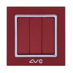 LVC6613A 水晶钢化玻璃面板 三位大跷板双控开关(天蓝)