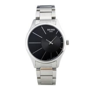 锐力(READ)手表偏心系列时尚超薄情侣表进口机芯石英表简约大气 R6007G 黑面钢带男表