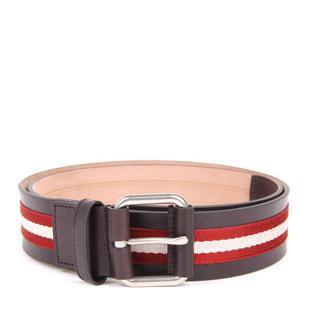 BALLY(巴利) 红白条帆布棕色配皮腰带95#