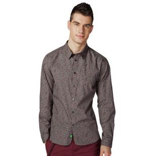 杰克琼斯JackJones复古修身男长袖衬衫B|213105014 灰 175/96A/M