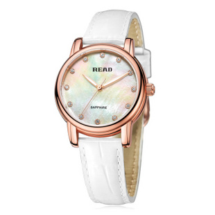 锐力(READ)R6032L手表已转京东自营,请点击下方链接购买! 玫瑰金白面白色皮带
