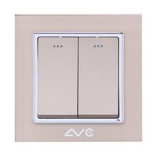 LVC6612A 水晶钢化玻璃面板 两位大跷板双控开关(米黄)
