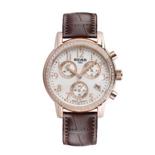 锐力(READ)R7003L手表已转京东自营,请点击下方链接购买! 皓钻玫瑰金棕皮带