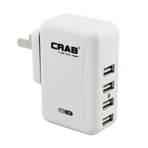 酷乐博(CRAB) KP03 4口 5V 2A 10W 黑色USB充电器 小身材大功率快速充电可更换插头