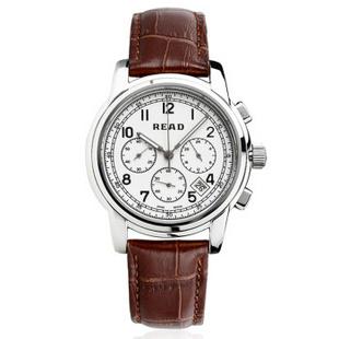 锐力(READ)R7001G手表已转京东自营,请点击下方链接购买! 白面银框棕皮带