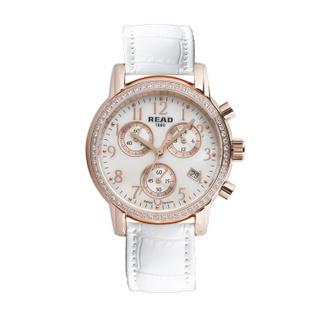 锐力(READ)R7003L手表已转京东自营,请点击下方链接购买! 皓钻玫瑰金白皮带