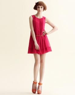 洋红色甜美宽松无袖背心裙