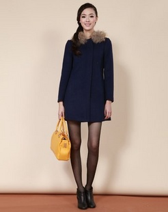 深蓝韩版加厚毛呢大衣