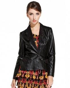 黑色简约蕾丝长袖皮衣