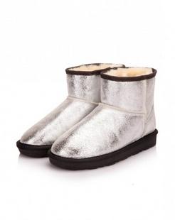 银色牛皮简单大方厚底雪地靴