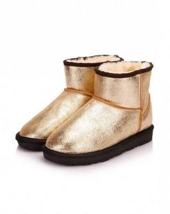 金色牛皮简单大方厚底雪地靴