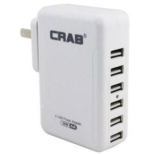 酷乐博(CRAB) KP05 6口 5V 6A 30W 多口USB充电器 小身材大功率快速充电可换插头