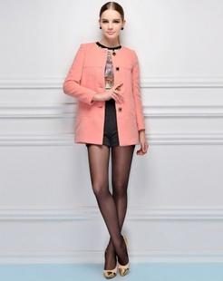 粉红纯色休闲大衣