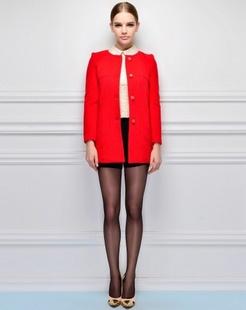 大红纯色休闲大衣