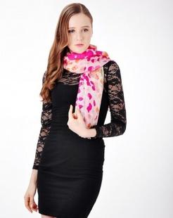 女款优雅多色点点休闲围巾披肩