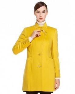 黄色清新可爱百搭长袖大衣