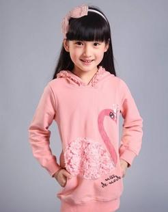女童粉橘色加厚卫衣
