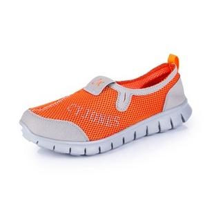 新款夏季必备 情侣款网布休闲透气鞋 跑步运动鞋 888(浅灰桔红色 39)