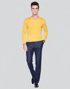 深蓝色商务休闲长西裤