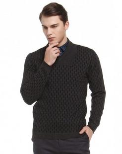 黑色柔软舒适长袖100%羊毛衫