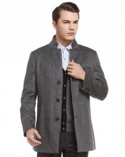 灰黑色经典时尚长袖大衣