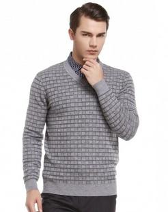 灰色简约舒适长袖100%羊毛衫