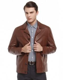 棕色时尚魅力长袖皮衣