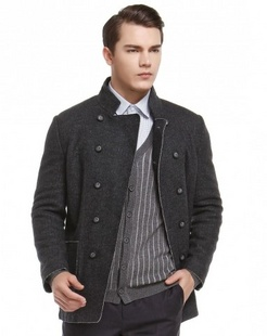 深灰色简约舒适长袖大衣