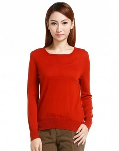 橙红色简洁长袖100%羊毛衫