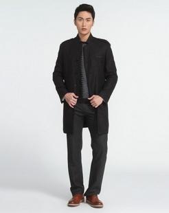 男士黑灰色大衣