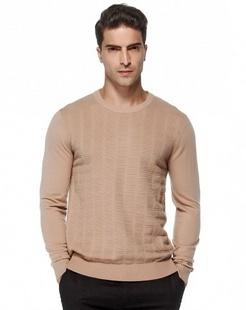 驼色复古简约长袖100%羊毛衫