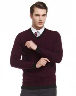 深红色经典魅力长袖100%羊毛衫