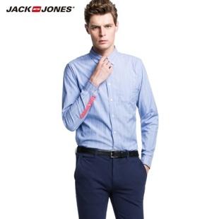 杰克琼斯JackJones纯棉条纹男长袖衬衫W|213305037 浅蓝 175/96A/M