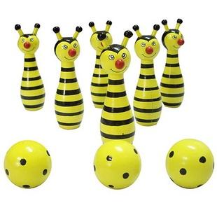 新方圆 木制小蜜蜂保龄球 红