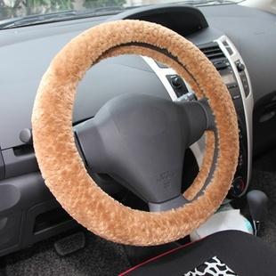 点将台 冬季毛绒汽车方向盘套 通用汽车把套(豹纹/橘色)