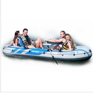 INTEX充气船68325漂流者五人钓鱼船加厚加宽橡皮艇皮划艇 送船桨打气泵 本款