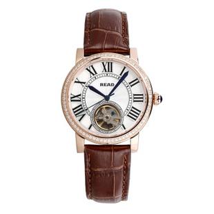锐力(READ)R8030G手表已转京东自营,请点击下方链接购买! 皓钻玫瑰金棕皮带