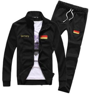 KENLEYHOMME春装新款时尚修身卫衣运动套装 足球服 德国黑 XL