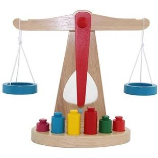 乐优右脑 蒙特梭利蒙氏教具 纯木制天平枰 称重平衡游戏儿童早教