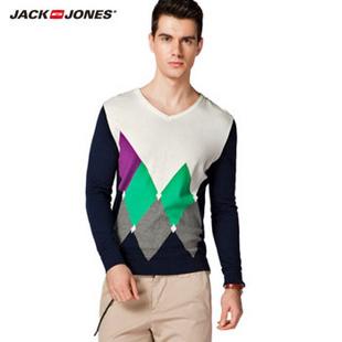 杰克琼斯JackJones纯棉修身男士针织衫B|213124021 170/92A/S