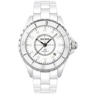【京东自营】锐力(READ)手表 波西米亚系列白陶瓷石英女表钻面R3002L