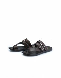 暗棕色牛皮简约舒适拖鞋
