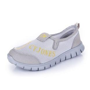 新款夏季必备 情侣款网布休闲透气鞋 跑步运动鞋 888(浅灰色 41)