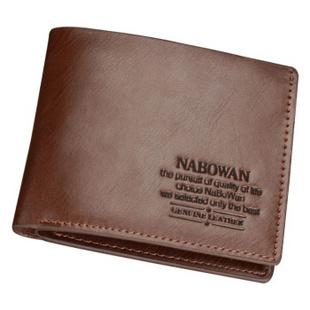 纳博万意式韩版简约时尚牛皮短款钱包1817 棕色