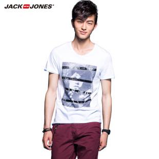 杰克琼斯JackJones棉质男印花短袖T恤B|213201039 白 165/88A/XS