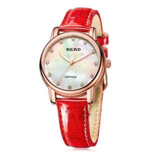 锐力(READ)R6032L手表已转京东自营,请点击下方链接购买! 玫瑰金白面红色皮带