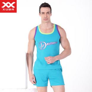 XUBA男士家居服360度透气网眼速干型篮球服休闲运动款式套装 淡绿 S