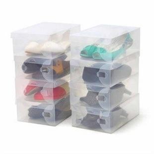 加厚塑料鞋盒 透明鞋盒男款 鞋子收纳盒 鞋架鞋盒 5只装
